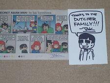 "Tak Toyoshima hand drawn & signed sketch & comic strip""SECRET ASIAN MAN"" Mint"