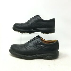 Ecco Oxford Golf Shoes Cleats Spike Lace Up Almond Toe Leather Black Mens 40