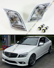 FOR 08-11 MERCEDES BENZ W204 CLEAR SIDE MARKER LAMP LIGHT+ ERROR FREE LED BULB