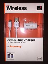 JUST WIRELESS SAMSUNG DUAL USB CAR ADAPTER AND PHONE CHARGER HIGH SPEED 03176