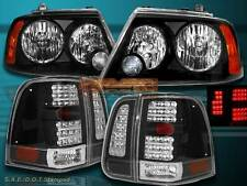 03-06 LINCOLN NAVIGATOR HEADLIGHTS JDM BLACK + BLACK LED TAIL LIGHT