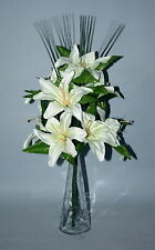 CREAM TIGER  LILY  ARTIFICIAL FLOWER ARRANGEMENT SPRAY IN VASE- DISPLAY.