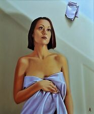 """SUPERB ANDREW K SHORT ORIGINAL """"Silk"""" Oil on Canvas Woman Girl nude PAINTING"""