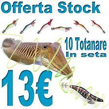 Stock 10 totanare assortite in seta da 9cm pesca mare seppia scogliera PB0227