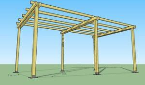 Pergola libera 3x5 in legno impregnato in autoclave e ferramenta zincata inclusa