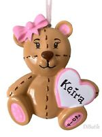 NAME PERSONALIZED ORNAMENT Pink Teddy Bear Baby's First Christmas Girl Ornament