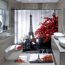 Floral Bathroom Pedestal-Rug Toilet Cover Bath Mat Shower Curtain Home Decor*4
