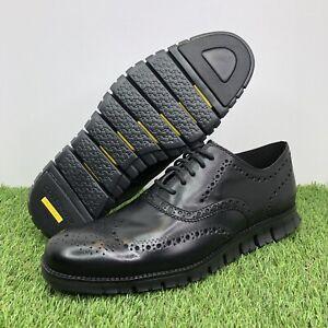 Cole Haan ZeroGrand Wingtip Leather Oxfords Black/Black C20719 Men's Size 11.5