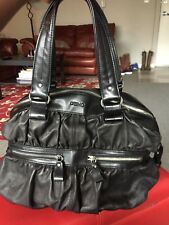 DESMO Italian,Platino Metallic Black Leather Hand Bag,Shoulder Bag,Purse