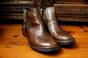 Colorado Chelsea Tan Leather Ankle Boots Size 41 Cuban Heel