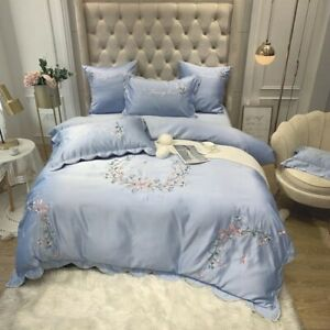 Flower Embroidery Satin Silk Cover Set Luxury Bedding Set Bed Fitted Sheet
