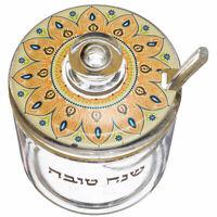 Rosh HaShanah Acrylic Honey Dish with Spoon - Jewish New Year Gift