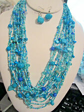 Multi Layers Multi Blue Turquoise Glass Seed Bead Stone Chips Necklace Earring