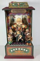 Musical Wooden Christmas Decor Happy Music Hall Wind Up Santa Coming To Town