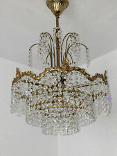 4 fl. Kronleuchter Lüster Lampe Deckenlampe Messing Kristall Chandelier