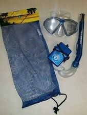 Aqua Lung Jr. Mask Eco Jr. Snorkel w/ Waterproof ID Holder & Mesh Carry Bag Set