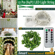 84Ft Artificial Ivy Leaf Garland w/ 80 Led Fairy String Lights Remote Control