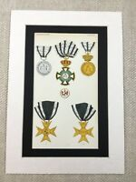 Military Medal Cross of Honour First Class Hohenzollern Province Antique Print