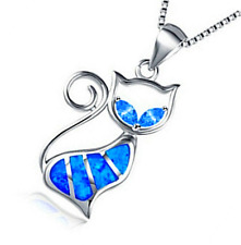 Fashion 925 Silver Jewelry Cat Blue Fire Opal Charm Pendant Necklace Chain HOT