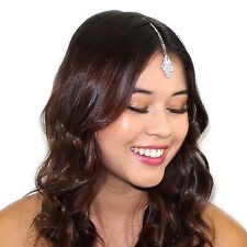 Dainty Crystal Triangle Tikka Chain Headpiece Bridal Prom Hair Accessories
