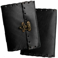 """5"""" Handmade Leather Black Diary Journal Sketchbook with Clasp & Cartridge Paper"""