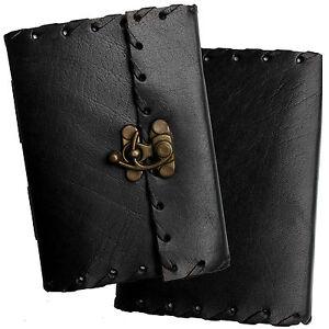 "5"" Handmade Black Leather Diary Journal Pocket Notebook - Clasp & Handmade Paper"