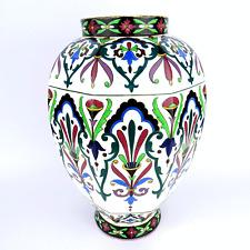 Ancien vase en céramique peinte florales décor, faïence Historismus Museal 1850