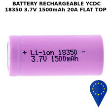 BATTERY YCDC 18350 1500mAh 20A 3.7v LITHIUM RECHARGEABLE BATTERIA FLAT TOP HEAVY