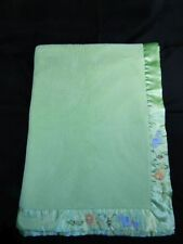 Carter's Green Baby Blanket Jungle Lion Monkey Elephant Satin Trim