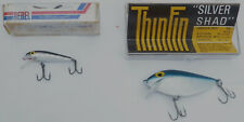 "2 VINTAGE FISHING LURES-""REBEL""++""PRE-RAPALA STORM THIN FIN SILVER SHAD"" W/BOXES"