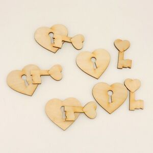 Herz mit Schlüssel Holzherz Hochzeit Geschenk 5 cm 5 Stück  Tischdekoration