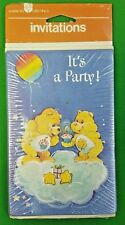 2 Vtg Care Bears Invitations 8 cards/envelopes each Birthday & Funshine Bear