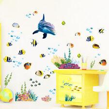 Diy Dolphin Sea Fish Ocean Bathroom Decor Vinyl Wall Stickers Kids Home Decor