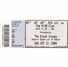 The Black Crowes Concert Ticket Stub Washington Dc 9/17/06 Wiser Time 9:30 Club