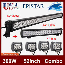 """52Inch 300W LED Light Bar Combo+20in 126W+4"""" 18W CREE PODS OFFROAD 4WD JEEP CORO"""
