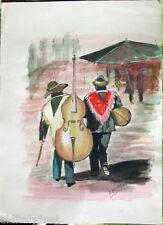 Acquerello '900 su carta-water color-Musicisti messicani- firmato A.Bergamo (39)