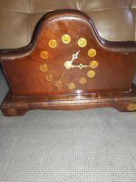 Vintage Hand Made Solid Wood Mantle Clock w/ ~ Dimes & Quarters ~1970's