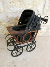 Antique Baby Doll Metal/Wood Baby Stroller Buggy Carriage Pram