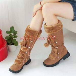 Womens Warm Thicken Mid Calf Boots low heel winter zip Fur Lined Snow Shoes