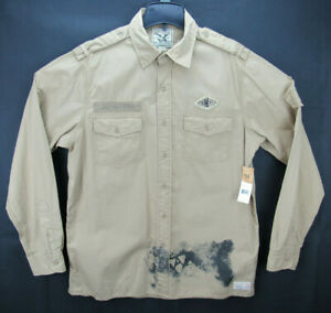 NWT American Living Men's Size Large Long Sleeve Button Front Shirt Army Style
