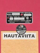 Vintage Model850 Regina Products Canada Ltd Radio Electrical Tag Welland Ontario