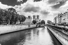 Black & White A3 Glossy Print, Notre Dame Cathedral, River Seine Paris France