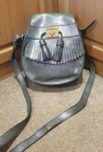 STUNNING!!! Dr Martens Pewter Leather Tassel Saddle Shoulder Bag