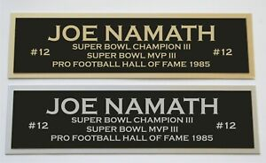 Joe Namath nameplate for signed jersey football helmet or photo