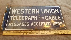 Double Sided Porcelain Antique 1920's Western Union Telegraph And Cable Sign
