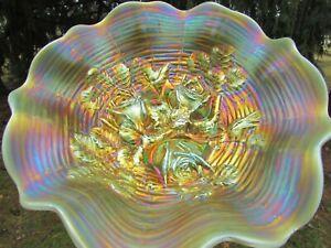 Northwood ROSE SHOW ANTIQUE CARNIVAL GLASS RUFFLED BOWL~AQUA OPAL~STUNNING!!!
