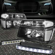 BLACK HEADLIGHT+CLEAR CORNER+8 LED GRILL FOG LIGHT FOR 04-12 COLORADO/CANYON