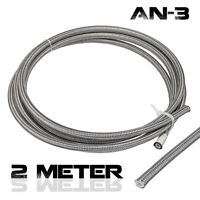 2 Meters AN-3 3AN Stainless Steel Braided PTFE Brake Clutch Hose Line Pipes