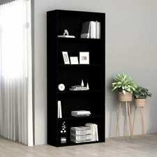 vidaXl 5-Tier Book Cabinet Minimalist Black Chipboard Shelf Stand Organizer