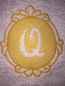 Embroidered White Bathroom Hand Towel- Ornate Embossed Monogram Letter Q HS0862